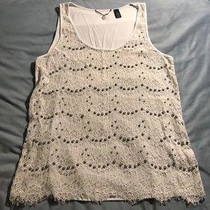 Woman's lace & grey beaded tank!